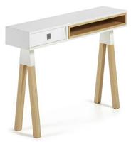 Consola de diseño escandinavo - Combinación de madera lacada blanca y fresno macizo en natural