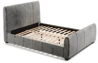 Cama tapizada en tela de tejano gris pespunteada - Estructura de madera y espuma de poliuretano.