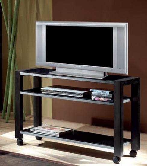 Mesa de TV en metal y tope de cristal