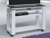 Mesa de TV moderna - Mesa de TV en metal y tope de cristal