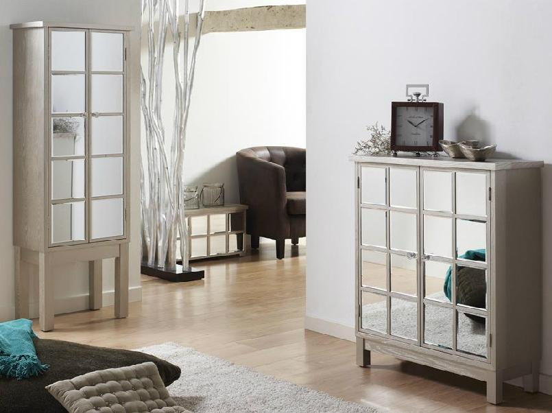 Mia home vitrina aparador madera envejecida y espejo barcelona for Espejo con mueble