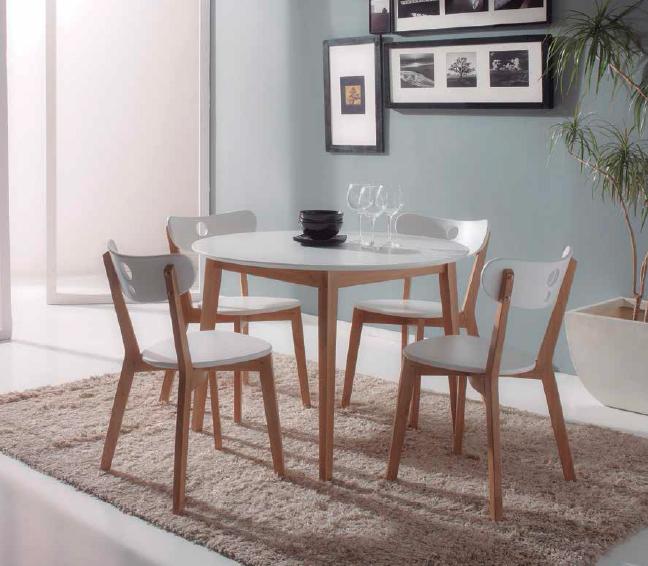 Conjunto comedor mesa redonda pack 4 sillas for Conjunto de mesa y sillas de comedor