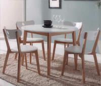Juego comedor mesa redonda y 4 sillas - Disponible en dos acabados