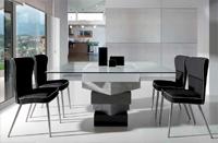 Mesa de comedor cuadrados multicolor superpuestos - Estructura de DM y sobre de cristal templado