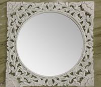 Espejo de madera tallada - Espejo luna redonda