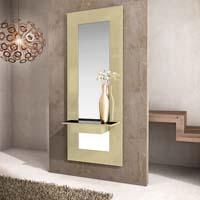 Consola y espejo de chapa Roble 25 - Consola y espejo con perchas integrados.