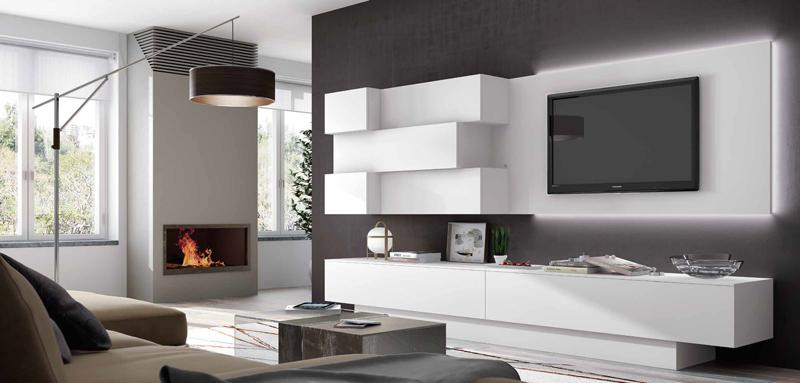 Salón moderno Impersonal 12 - Composición en Blanco mate, en la que se combinan módulos de colgar de diferentes profundidades.