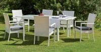 Set mesa extensible exterior - Mesa extensible blanca con cristal. Incluye 6 cómodos sillones de  color gris liso y 6 cojines a juego.