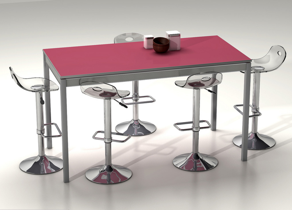 Mesa de cocina con ruedas alta extensibe for Mesas altas de cocina