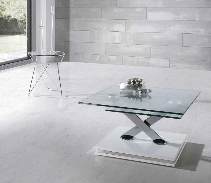 Mesa de rinc n en acero cromado y tapa en cristal templado - Mesa baja salon ...