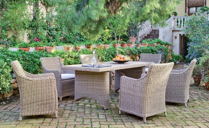 Juego comedor de lujo para exteriores 4 - Mesa con tablero de poliwood para exterior a la intemperie