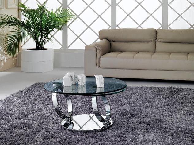 Mesa de centro cromada y cristal - Mesas de vidrio modernas ...