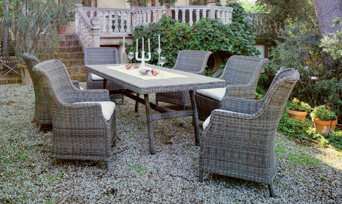 Mesa de comedor para exteriores 1 - Mesa + 6 sillones, tapicería incluida Precios de piezas por separado