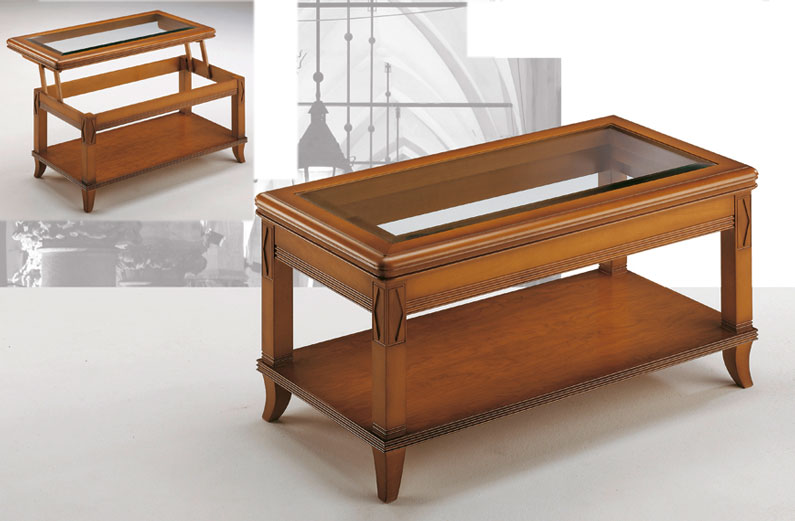 Mesa centro cristal biselado madera tallada elevable for Mesas auxiliares clasicas