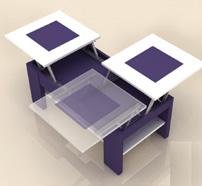Mesa de centro con tres tableros - Mesa de centro dos tableros elevable y puffs 2