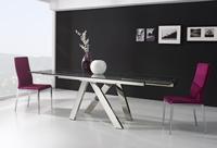 Mesa extensible de cristal transparente y/o 4 sillas - Mesa de comedor extensible