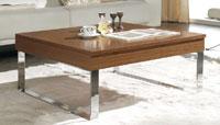 Mesa de centro patas metálicas cuadrada - Mesa acero y madera