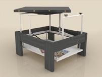 Mesa de centro cuadrada tipo comedor  - Mesa de centro con dos tableros elevables