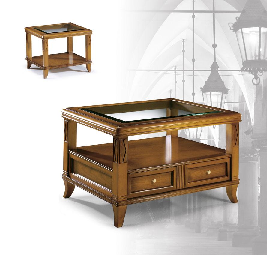 Mesa centro cristal biselado madera tallada madrid - Mesas centro salon ...