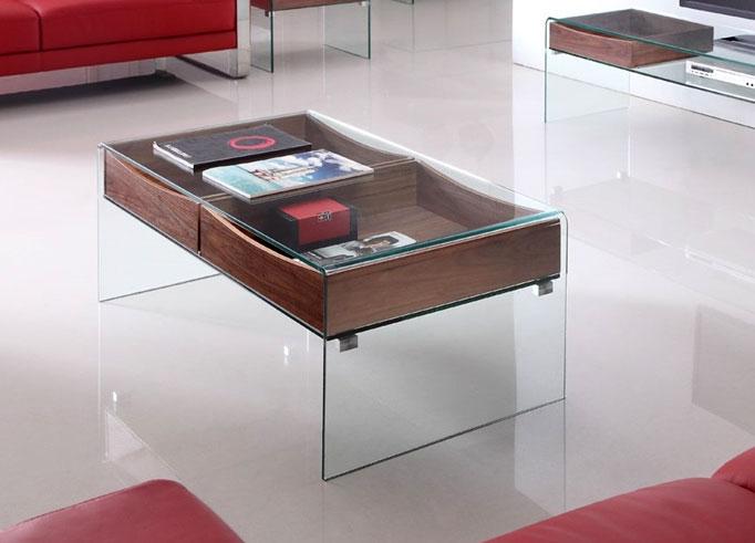 Mesa de centro moderna caj n de madera for Mesas de centro madera y cristal