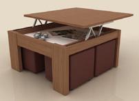 Mesa de centro cuadrada tipo elevable  - Mesa de centro con dos tableros elevables