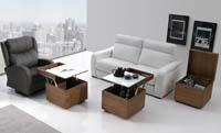 Mesa de centro elevable tipo arcón cubo - Mesas bajas de salón arcón elevable