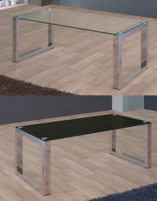 Mesa de centro cristal y acero for Mesas de salon de cristal