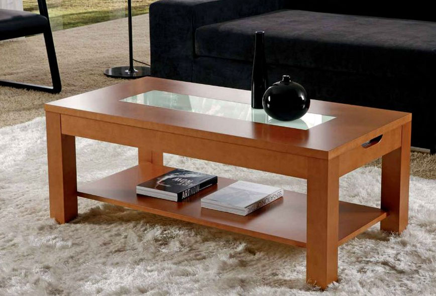 Mesa centro con bandeja elevable cristal rebaja sagunto for Mesas de centro color cerezo