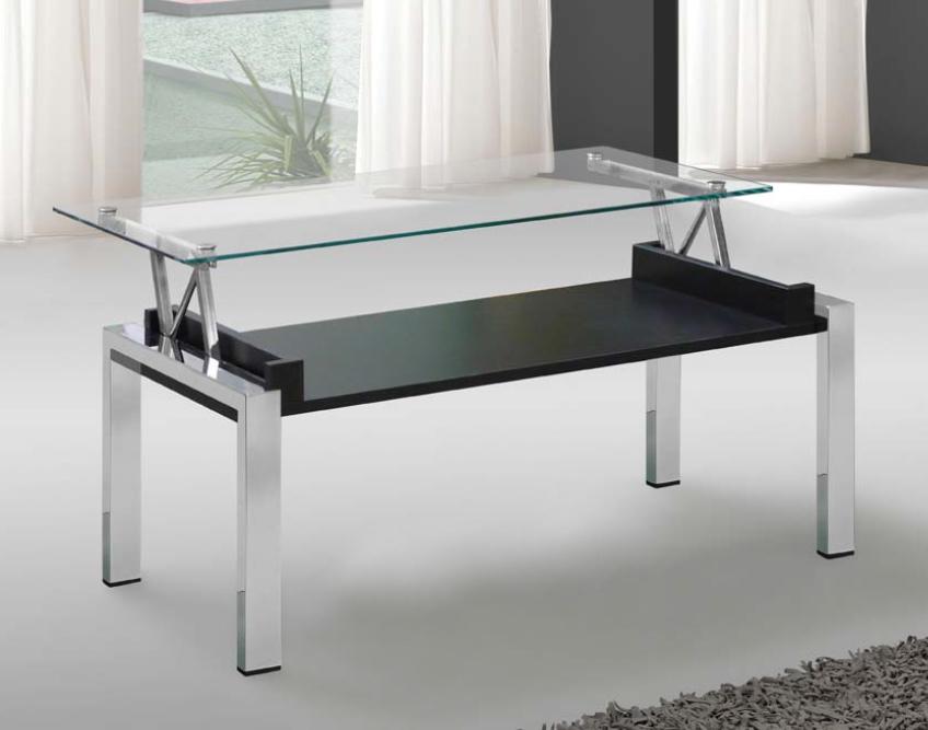 Mesa tapa cristal transparente negro for Mesas de salon blancas