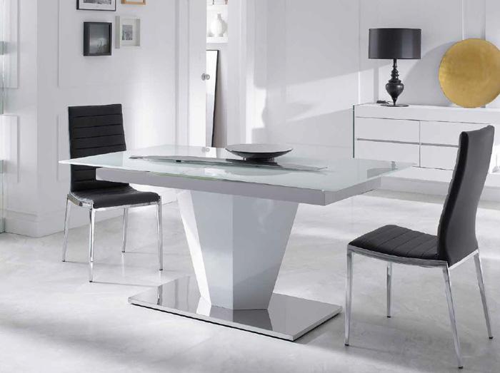 Mesas de comedor extensibles pata central for Mesas de comedor de cristal extensibles