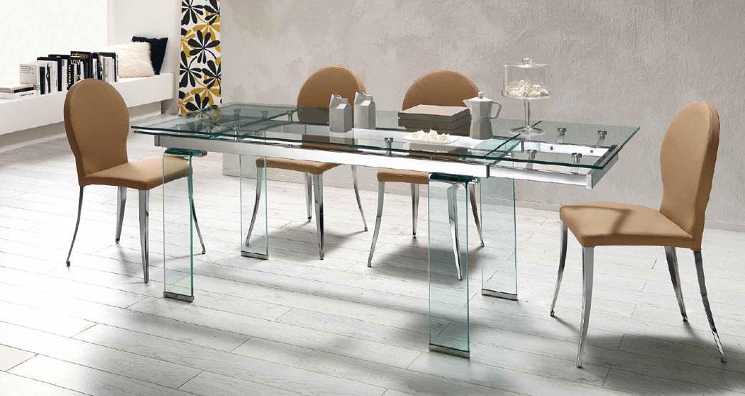 Mesa comedor extensible transparente cristal templado for Mesas de salon de cristal