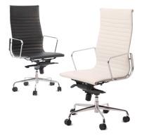 Silla de oficina disponible con respaldo alto o bajo - Regulación de altura, inclinación y dureza de la misma.