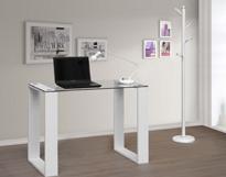 Mesa de escritorio sencilla de cristal - Mesa de escirotio cristal transparente