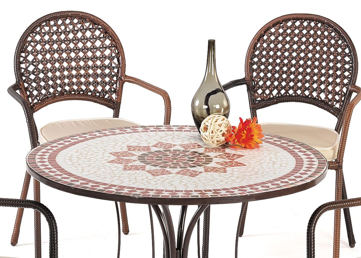 Mesas mosaico redonda acero reforzadas baratas huesca for Mesas exterior baratas