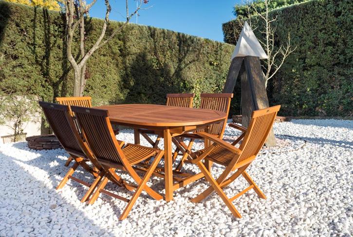 Mesa extensible Ovalada de teca maciza - Mesa extensible Ovalada de teca maciza