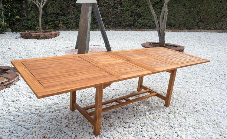 Mesa extensible madera de teca macisa madrid bilbao valencia for Mesa madera extensible