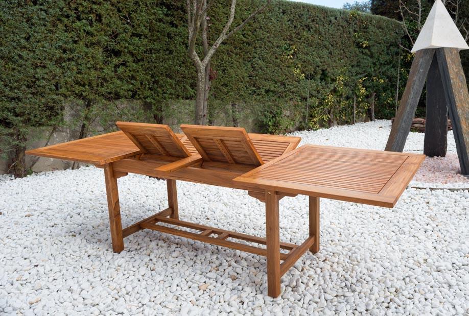 Mesa extensible madera de teca macisa madrid bilbao valencia for Mesa rectangular extensible