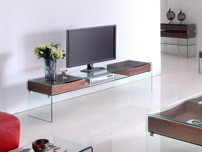 Mesa de TV de cristal - Mesa de tv de cristal y cajones de madera