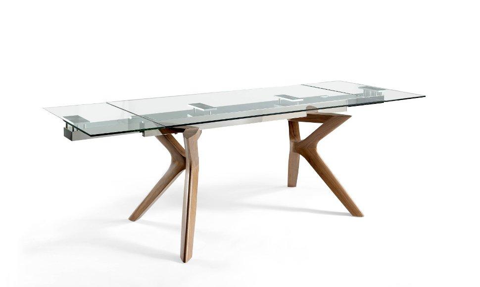 Mesa extensible de madera y tapa de cristal for Mesa cristal extensible