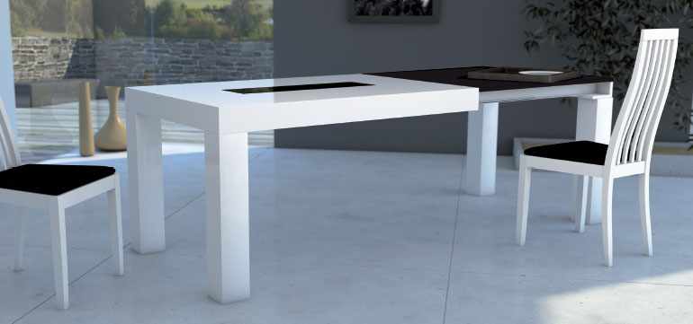 Mia home mesa de comedor extensible en madera natural - Mesa de comedor extensible blanca ...