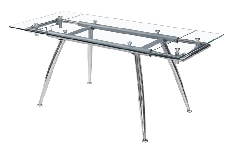 Mia home mesa de cristal extensible for Mesas comedor metal