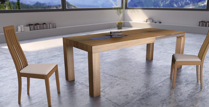 Mia home mesa de comedor extensible en madera natural for Sillas redondas modernas
