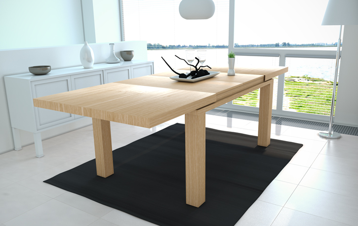 Mia home mesa extensible en roble natural for Comedor americano