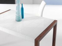 Mesa de comedor little mary - Mesa de comedor extensible con tapa de cristal curvo