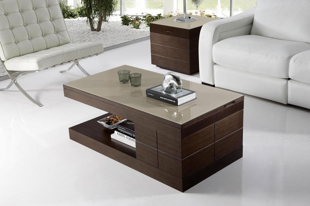 Mesa de centro elevable madera for Mesa de centro blanca