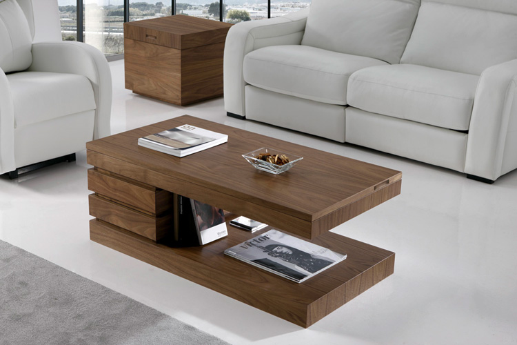 Mesa de centro elevable madera for Escritorios para salon comedor