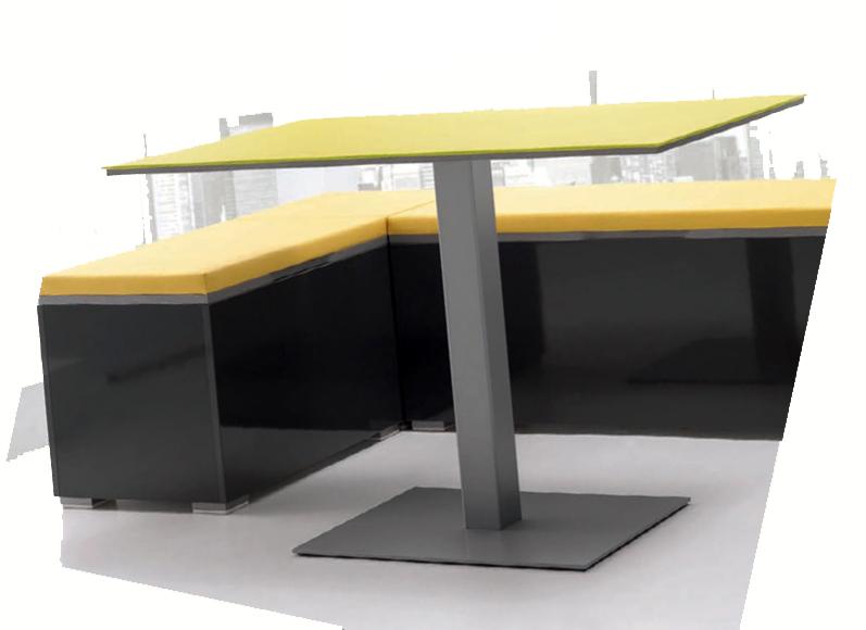Mesa comedor de pata central for Mesas esquineras modernas