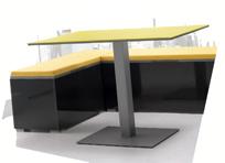 Mesa pata central moderna tapa cristal y otros - Mesas modernas estructura de metal
