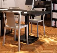 Mesa interior exterior de diseño pata central - Mesa de aluminio minimalista pata central
