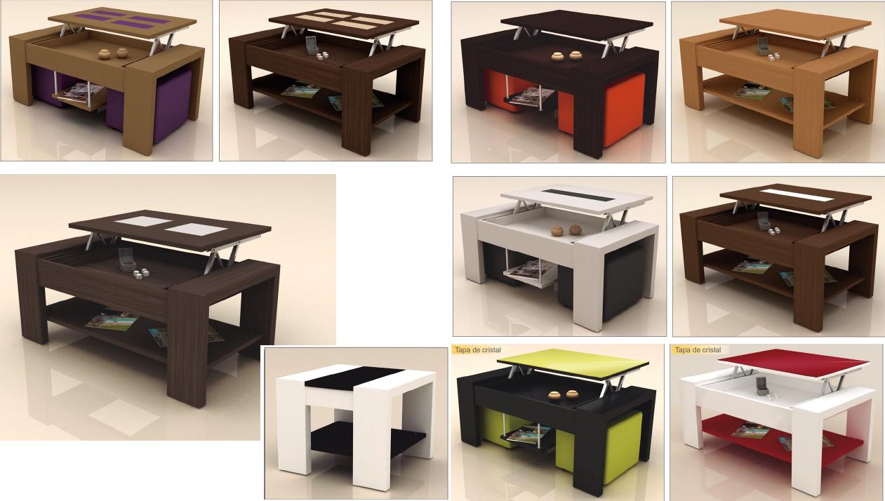 Mesas lacadas de centro para salon navarra - Mesa de centro con puff ...